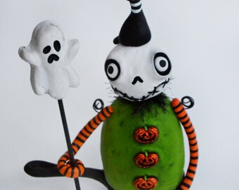 Halloween Art Doll - Halloween Skelly - Black Cat - Halloween Ghost - MADE TO ORDER