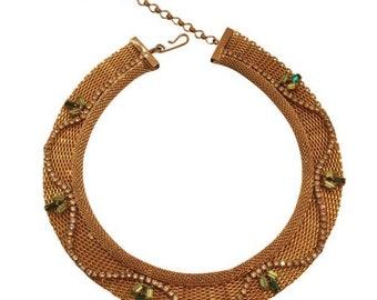 Vintage Hobe Gold Mesh Rhinestone Collar Necklace