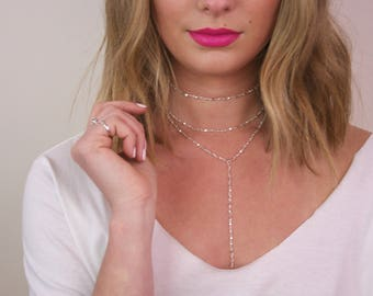 Silver Layered Necklace, Silver Layering Chains, Silver Necklace Set