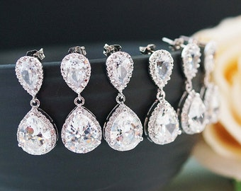 15% OFF SET OF 6 Wedding Jewelry Bridesmaid Jewelry Bridesmaid Earrings Lux Cubic Zirconia Tear drop Earrings