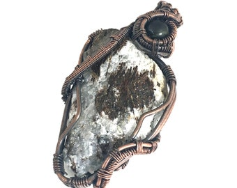 Astrophyllite gemstone pendant with Moldavite, wire wrapped in copper. Activating One's Highest Purpose In Life
