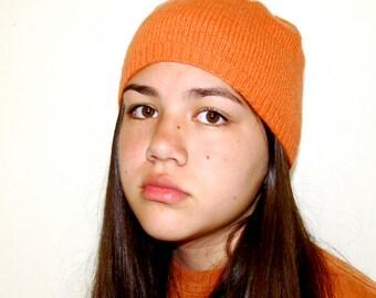 100% cashmere orange handknit beanie