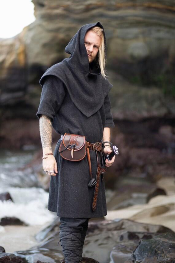 Wool Viking Skjoldehamn Archer Oversized Hood, Garb, Midgaarb, Historical, Norse, SCA, LARP, Reenactment, Medieval, Renaissance, Elf