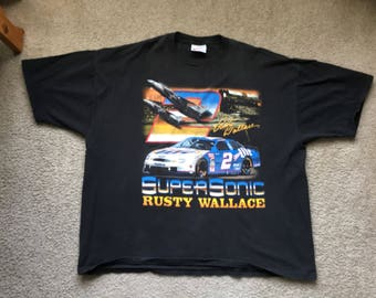 Men's Vintage 90s Chase Authentics Rusty Wallace 2 Supersonic Double Sided T Shirt Size 2Xl