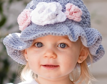 CROCHET PATTERN Crossed Cluster Sunhat with Rose (5 Sizes Included: Newborn to Ladies) Permission to sell all finished items