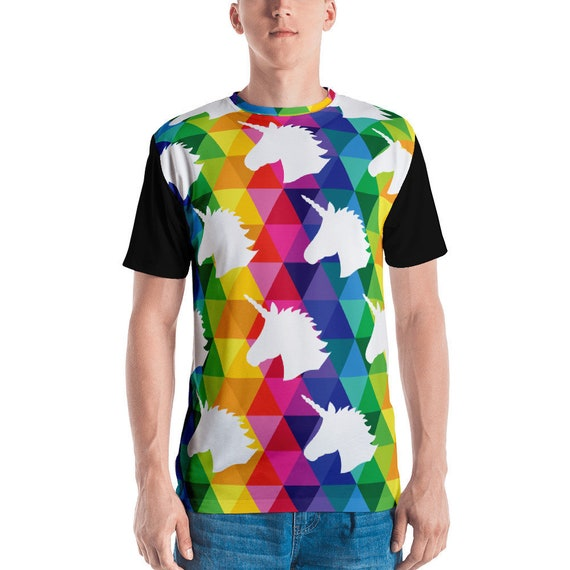 Men's T-shirt Unicorn Head Tee Funny Animal Tshirt Unicorn Lover Gift Fashion Abstract Graphic Tee for Hipsters