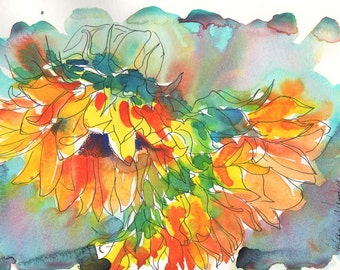 Sunflowers in Ink and Watercolor - Signed Giclee Fine Art Print