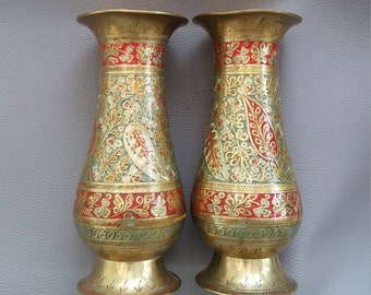 2 Ornately Engraved Brass Vases, with colourful enamelling in the relief