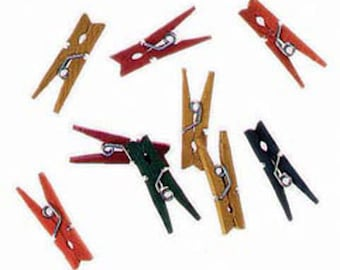 Mini Spring Clothespins - Multicolor - 1 inch  50 pieces,Color Wood, Mini Clothespins, Wood,Craft Supplies,Natural Wood,Summer Camp Supplies