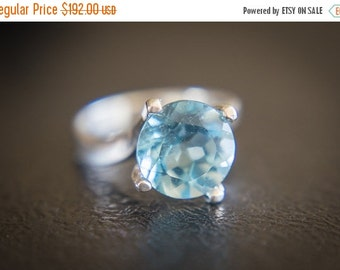 ON SALE Sky Blue Topaz Ring , Huge Blue Topaz Ring , 11mm Sky Blue Topaz , Sky Blue Topaz Silver Ring