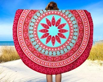"""Red Mandala Round Beach Towel, Mandala Beach Towel, Circle Towel, Boho Mandala, Beach Blanket, Towel, 60"""""""