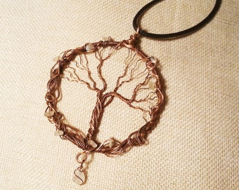 Rainbow Moonstone Tree Of Life Copper Wire-Wrap Pendant - Gothic, Goth, Pagan, Gemstone Necklace