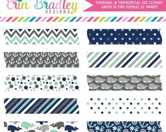80% OFF SALE Nautical Boys Blue & Gray Digital Washi Tape Clipart Graphics Anchors Whales Polka Dots Stripes and Chevron Instant Download