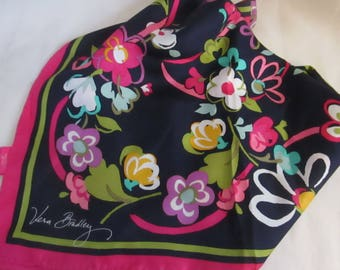 Vintage Vera Bradley Navy Blue with Hot Pink Trim Floral Pattern Silk Square Scarf.