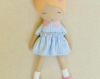 Fabric Doll Rag Doll Small 15 Inch Doll, Blond Haired Girl in Blue and White Striped Dress with Pink Maryjanes