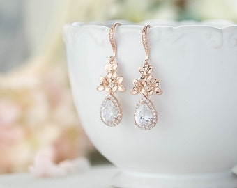 Rose Gold Bridal Earrings Wedding Earrings Rose Gold Clear Crystal Cubic Zirconia Earrings Cherry Blossom Lilac Flower Wedding Jewelry