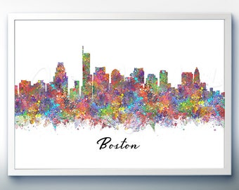 Boston Skyline Watercolor Art Poster Print - Wall Decor - Watercolor Painting - Illustration - Home Decor - Office Decor - Kitchen Decor