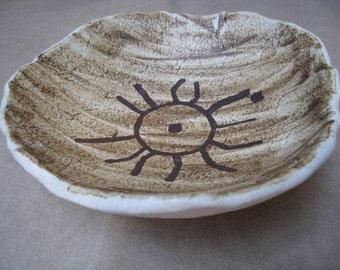 Organic Ceramic Dish - Texas Rock Art - Star Cluster Petroglyph - Art Dish - Clay Dish