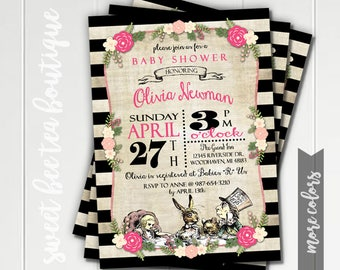 Alice in Wonderland Baby Shower Invitation - Boy or Girl - Printable Invite - Vintage Tea Party - White Rabbit Queen of Hearts Mad Hatter