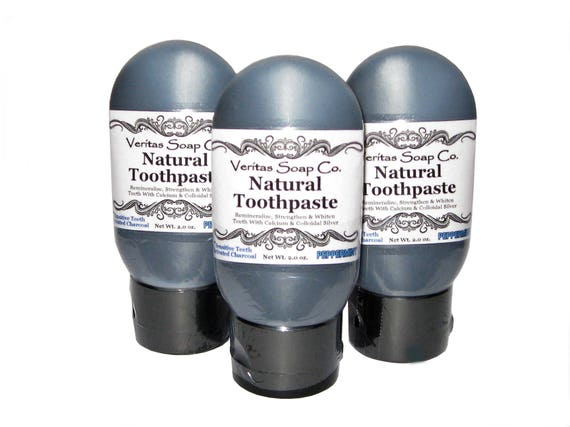 CHARCOAL TOOTHPASTE for Sensitive Teeth - Clean Your Teeth with Colloidal Silver & Calcium in PEPPERMINT / Vegan / No Fluoride / No B.Soda
