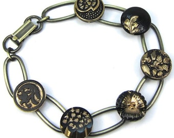 Antique Gold Czech Glass Button Bracelet, Vintage Buttons Black and Gold, Free US Shipping