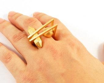 Crystal and Ball Ring (3D Printed Steel/Gold/Bronze)