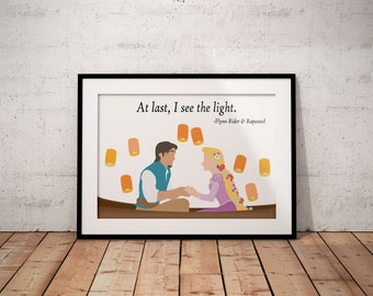 At Last, I See The Light Poster, Rapunzel, Flynn Rider, Tangled, Disney, Print, Quote