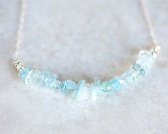 Aquamarine Necklace, Aquamarine Nugget Necklace, Aquamarine Silver Necklace, Aquamarine Bead Bar Necklace, Aquamarine Arc Necklace