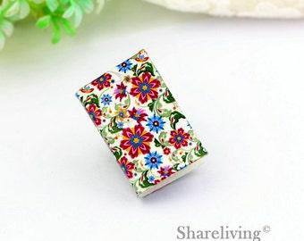 2pcs Vintage Flowers Mini journal Charm / Pendant , Handmade Photo Leather Tiny Book Necklace - BL001N
