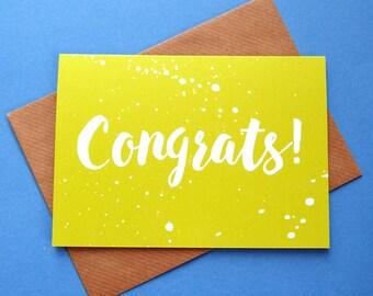 Congrats Card, Congratulations Card, Congratulations New Job Card, Congrats Graduation Card, Well Done Card, Driving Test Card, Exam Card