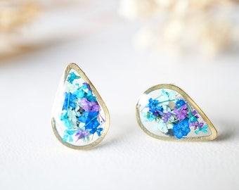 Real Dried Flowers and Resin Stud Earrings, Gold Teardrop in Mint Teal Purple Blue