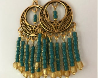 Teal and Gold Chandelier Earrings, Beaded Antique Gold Chandelier Earrings