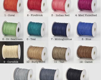 10 Meters, 1mm Environmental Korean Waxed Polyester Cord - Choose Your Colour