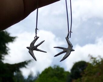 silver swallow earrings, handmade