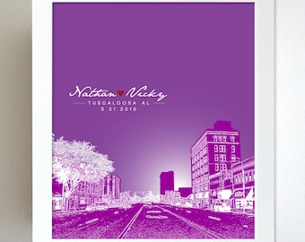 Skyline Special Relationship Gift / Tuscaloosa AL Skyline / Custom Keepsake Gift / Any City Available
