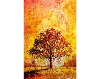 Watercolor batik painting on rice paper of sun setting behind tree in North Carolina.  Watercolor painting landscape tree fine art print
