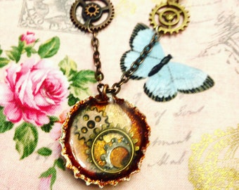 Steampunk Gears and Cogs Bottlecap Necklace