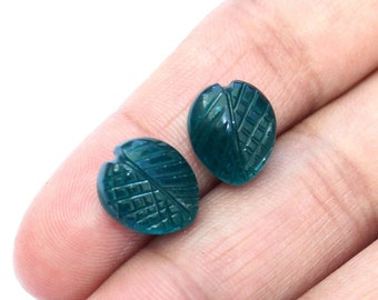 2 Pcs 1 Pair 12x10mm Teal Blue Quartz Hand Carved On Leaf Briolette / Carved Gemstone / Engraved Beads Select Drill Hole / CQ90
