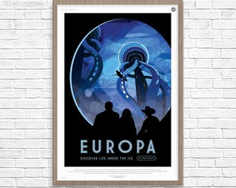 Space Poster, EUROPA Life Under the Ice, Europa, Space Travel, Nasa Space Poster, Space Travel, NASA Space Poster, Space Art, Nasa Art