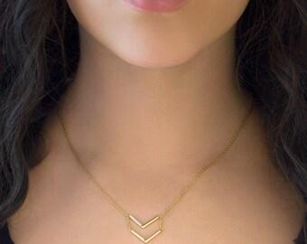 Chevron Necklace, Gold Chevron Necklace, Layering Necklace, Delicate Gold Necklace, Layered Chevron Necklace, Layering Gold Necklace, N242-G