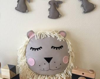 Lion pillow-fabric pillow - handmade lion pillow - children's room decor - baby gift - cloth pillow - animal nursery - wild