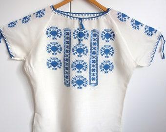 Beautiful Vintage 1960s 1970s Hippy Folk Smock top tunic 12 14 16 hand made