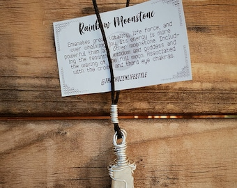 Moon Stone Necklace - Wire Wrapped Healing Crystal - Silver wrapped Rainbow Moonstone Necklace