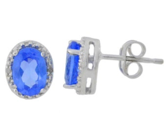 14Kt White Gold Sterling Silver Tanzanite & Diamond Oval Stud Earrings