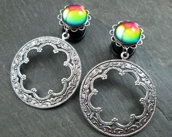"""Dangle Plugs - 7/16"""" 11mm - Rainbow Filigree - Round Hoop Gauges - Tribal Plugs - Rainbow Wedding Plugs - Pride Jewelry - Plug Earrings"""