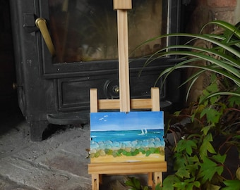 Cornwall Inspired Seascape Acrylic Painting with Found Seaglass in a Small Glass Clip Frame