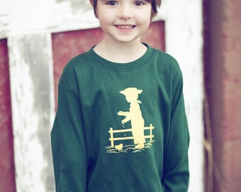 SALE Little Farmer Long Sleeved Nostalgic Graphic Tee in Forest with Wheat