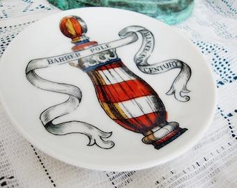 vintage coaster barber pole coin key dish lipper mann japan porcelain