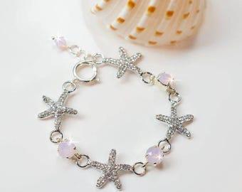 Choose Your Accent Colour -- Handmade Crystal Rhinestone Starfish Bracelet, Destination or Beach Wedding, Bridal (Sparkle-2722)