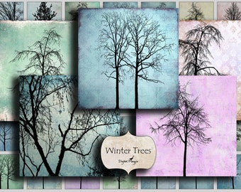 digital download 1 inch squares winter trees collage sheet instant download printable images for pendants jewelry tags craft images